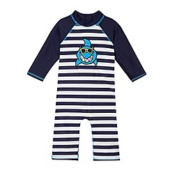 bluezoo - Boy's navy applique shark rash suit