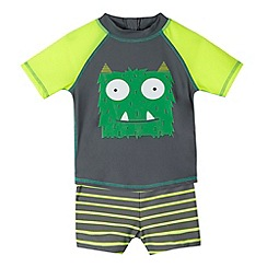 bluezoo - Boy's lime monster printed rash top and trunks set
