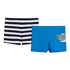 bluezoo - Pack of two boy's navy striped and blue shark trunks