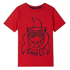 bluezoo - Boy's red shark print t-shirt