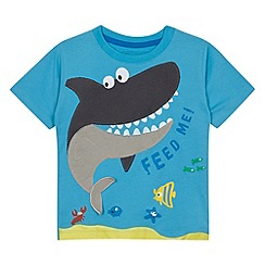 bluezoo - Boy's blue shark applique t-shirt