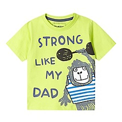 bluezoo - Boy's lime 'Strong Like My Dad' monkey t-shirt