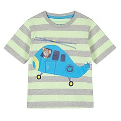 bluezoo - Boy's lime striped helicopter applique t-shirt