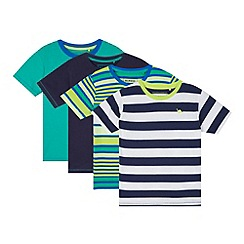bluezoo - Pack of four boy's green striped t-shirts