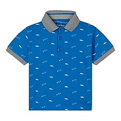 bluezoo - Boy's blue shark printed polo shirt