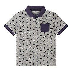 bluezoo - Boy's grey dinosaur print polo shirt