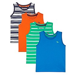 bluezoo - Pack of four boy's blue, green, orange and navy striped vests