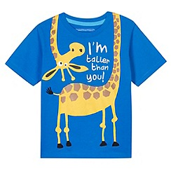 bluezoo - Boy's blue giraffe print t-shirt