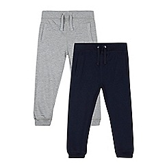 bluezoo - Pack of two boys' plain navy and grey jersey joggers