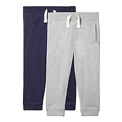bluezoo - Pack of two boy's navy and grey cuffed lightweight jersey jogger