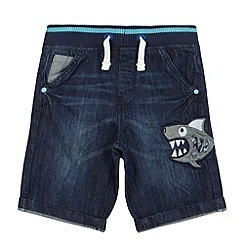bluezoo - Boy's blue applique shark denim shorts