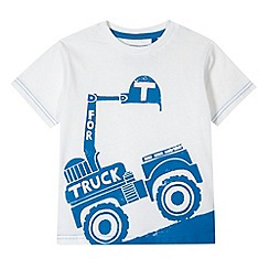 bluezoo - Boy's white truck printed t-shirt