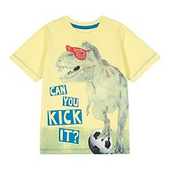 bluezoo - Boy's yellow 'Kick It' dinosaur print t-shirt