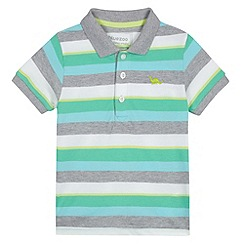 bluezoo - Boy's green multi striped pique polo shirt