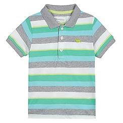 bluezoo - Boy's green multi striped pique polo shirt