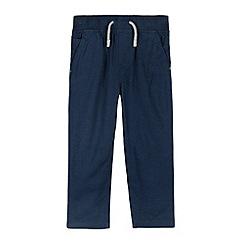 bluezoo - Boy's navy linen blend trousers