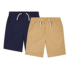 bluezoo - Pack of two boy's navy and beige woven shorts