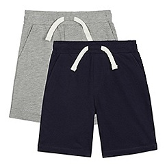 bluezoo - Pack of two boy's navy and grey jersey shorts