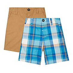 bluezoo - Set of two boy's tan and blue checked shorts