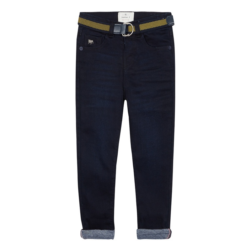 J BY JASPER CONRAN | J by Jasper Conran - Boys' Dark Blue Jersey Lined Slim Fit Jeans | Goxip