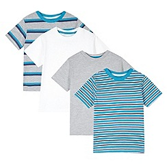 bluezoo - Pack of four boy's turquoise striped t-shirts