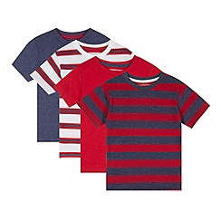bluezoo - Pack of four boy's red plain and striped t-shirts