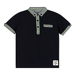 J by Jasper Conran - Designer boy's navy gingham collar polo shirt