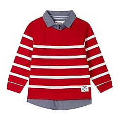 J by Jasper Conran - Designer boy's red striped mock 2-in-1 sweat top and shirt
