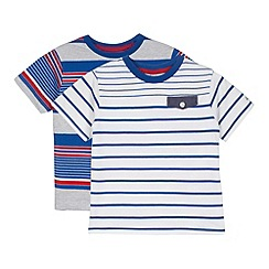 J by Jasper Conran - Designer pack of two boy's blue striped t-shirts