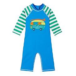 Mantaray - Boy's blue van applique all-in-one swimsuit