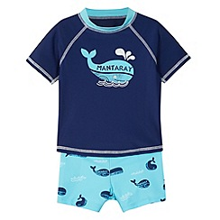 Mantaray - Boy's blue rash vest and shorts set
