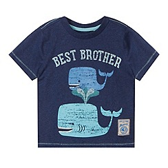 Mantaray - Boy's navy whale 'Best Brother' t-shirt