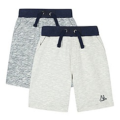 Mantaray - Pack of two boy's navy and grey marl sweat shorts