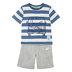 Mantaray - Boy's navy striped space dye van t-shirt and shorts set