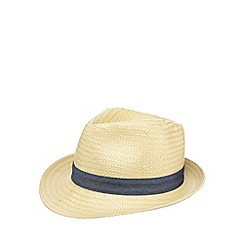 Mantaray - Boy's natural chambray straw trilby hat