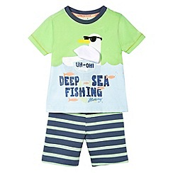 Mantaray - Boy's green seagull top and short set