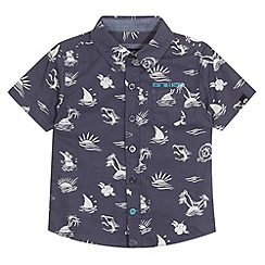 Animal - Boy's navy island print shirt
