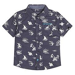 Animal - Boy's navy island print shirt
