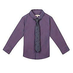 bluezoo - Boy's purple long sleeved shirt and tie