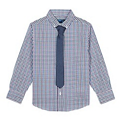 bluezoo - Boy's purple gingham shirt and tie set