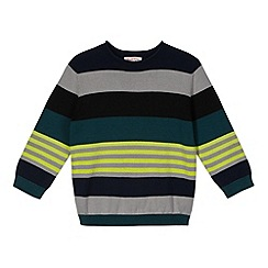 bluezoo - Boy's navy variegated stripe jumper