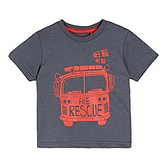 bluezoo - Boy's dark grey fire truck t-shirt