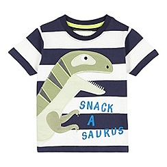 bluezoo - Boy's navy dinosaur applique t-shirt