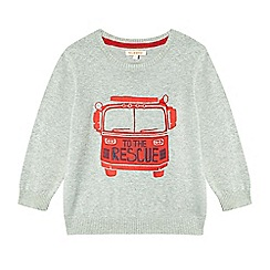 bluezoo - Boy's grey fire engine applique jumper