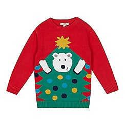 bluezoo - Boys' red Christmas tree and bear jumper
