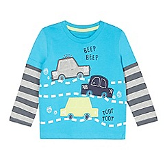 bluezoo - Boy's blue car applique top