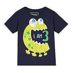 bluezoo - Boy's navy 'I am 3' monster t-shirt