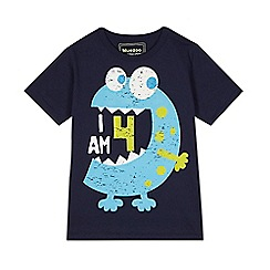 bluezoo - Boy's navy 'I am 4' monster t-shirt