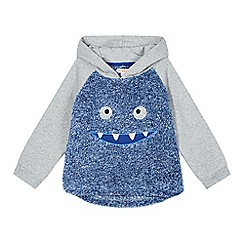 bluezoo - Boy's blue hooded fleece monster top