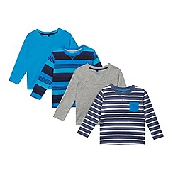 bluezoo - Pack of four boy's blue and grey plain and striped tops